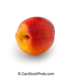 Nectarine - Ripe nectarine peach isolated on white...