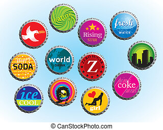 Bottle Caps - Collection of illustrated bottle caps