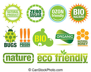 Ecology Labels - Vector set with environmental friendly...
