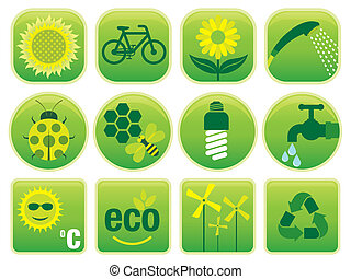 Environment Icons - Vector set with environmental friendly...