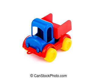 Colorful toy-car on white background