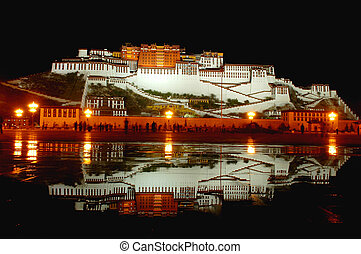Potala Palace in Lhasa Tibet - Night scenes of Potala Palace...