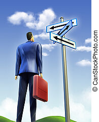 Business choice - Businessman standing at a crossroad A...