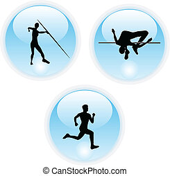 athletics sports color icon buttons vector illustration