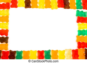 Gummy bears frame. - Gummy bears frame with white empty...