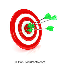 3d target with arrows over white background Computer...
