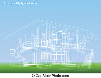 Landscape and house Vector - Summer sunny landscape and...