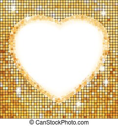 Gold frame in the shape of heart. EPS 8