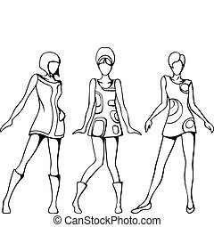 Mod girls sketch - Sketch of three women in 1960s mod...