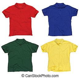 Blank polo shirts - Photograph of four blank polo shirts,...