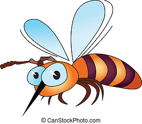 Cartoon bee - Illustration of isolated cartoon bee on white...