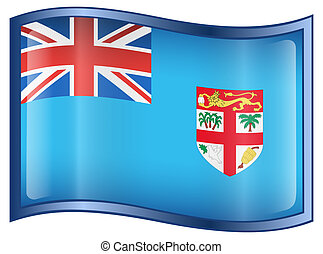 Fiji flag icon - Fiji flag icon, isolated on white...