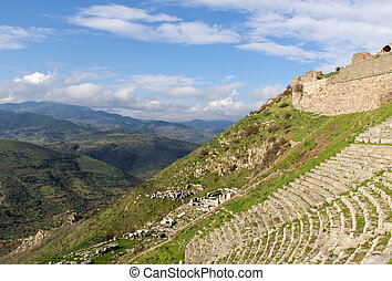 Ruins of Theater of Pergamon in Turkey - Theater of the...