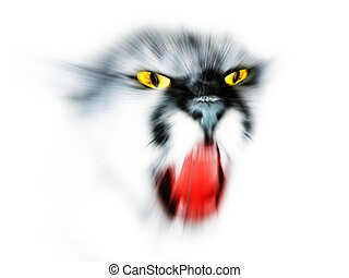 abstract lynx - abstract face lynx isolated on a white...