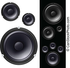 Speakers set Vector illustration on black and white...