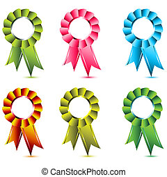 ribbon award - illustration of ribbon award on white...