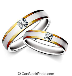 wedding ring - illustration of wedding ring on white...
