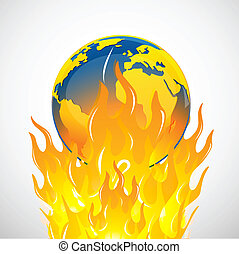 global warming - illustration of global warming on isolated...