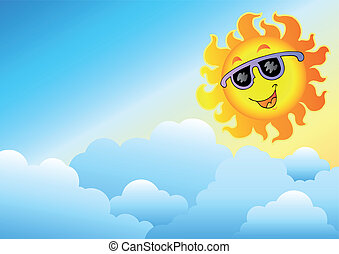 Cloudy sky with cartoon Sun - vector illustration.