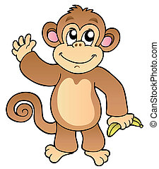 Cartoon waving monkey with banana - vector illustration
