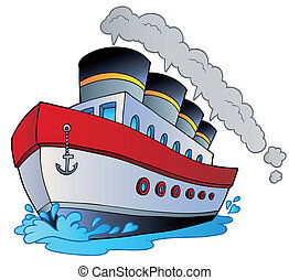Big cartoon steamship - vector illustration.