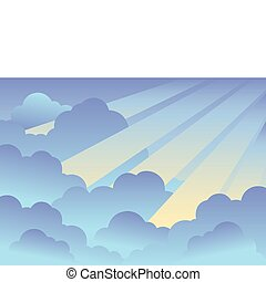 Cloudy sky background 2 - vector illustration.