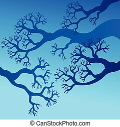 Tree branches with blue sky - vector illustration.