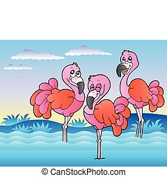 Three flamingos standing in water - vector illustration