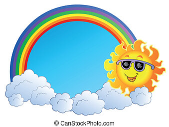 Rainbow with Sun and clouds - vector illustration.