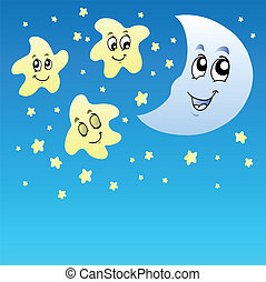 Night sky with cute stars and Moon - vector illustration