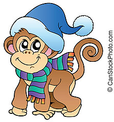 Cute monkey in winter clothes - vector illustration