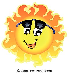 Cute funny Sun with sunglasses - vector illustration.