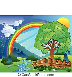 Landscape with rainbow and tree - vector illustration.