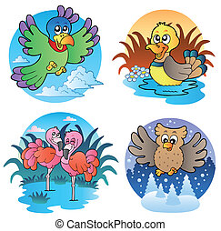 Various cute birds 1 - vector illustration.