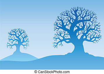 Two autumn trees in mist - vector illustration
