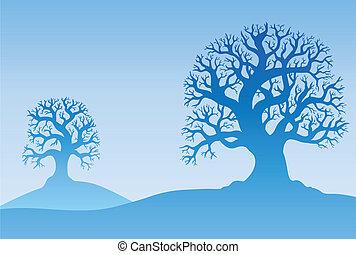 Two autumn trees in mist - vector illustration.
