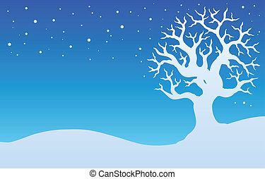 Winter tree with snow 1