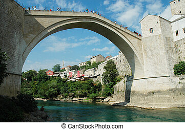 Mostar with the famous bridge, Bosnia and Herzegovina