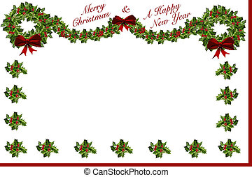 Christmas New Year Holly Stationary - Merry Christmas and...