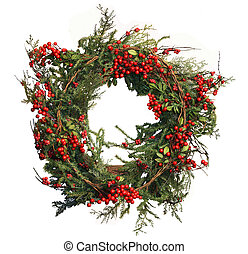 Holly Berry and Pine Christmas Wreath - Holly Berry and Pine...