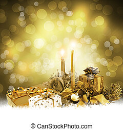 Abstract background with a New Year's gifts and candles....