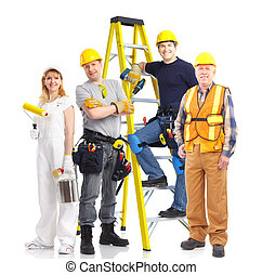 Industrial workers people. Isolated over white background