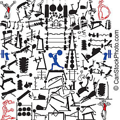 Gym Equipment And Objects Hundred Vector