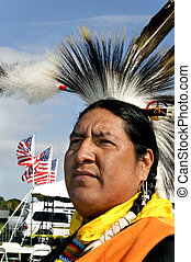 American Indian and American Flags