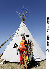 American Indian in Front of Tee Pee - A proud Northern...