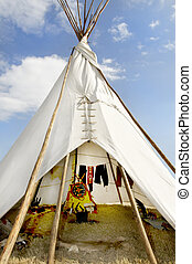 Tee Pee Against a Blue Sky - A native american indian tee...