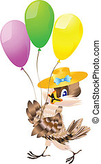 Sparrow and balloons