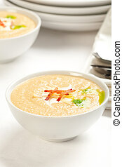 Celery Root and apple soup - Celeriac and apple soup topped...