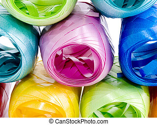 Colorful hanks of ribbons