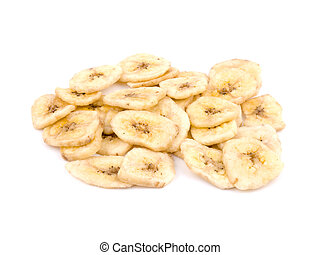 Healthy snack - banana chips - Banana chips on white...